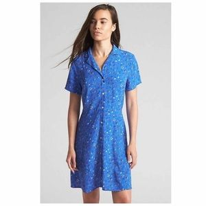 Gap Women's Fit and Flare Button Dress in Blue